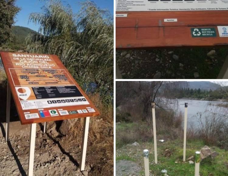 Dañan señalética instalada por el INFOR en el Santuario Achibueno