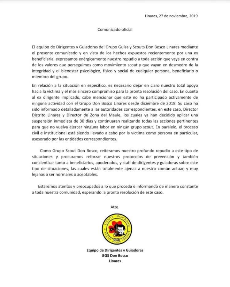 """Fiscalía confirma investigación por delitos de connotación sexual contra dirigente de los scouts """"Don Bosco"""" de Linares"""