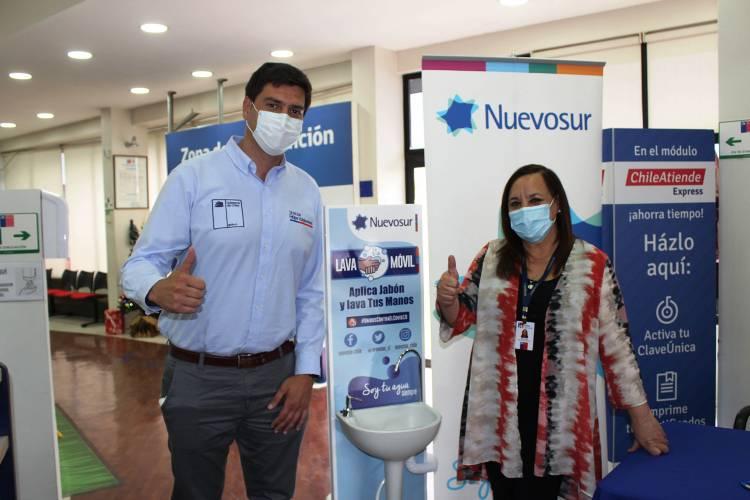Firman convenio con Nuevosur para instalar lavamanos portátiles en lugares de altaconvocatoria en Linares y Parral
